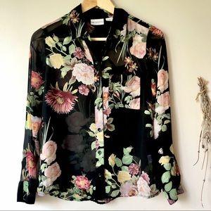 Liz Claiborne   Semi-sheer Floral Button-down Top